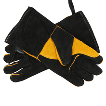 Long Leather Welding Gloves With Double Palm Thick Cow Split Leather Welder Heat Resistant Oven Working Glove