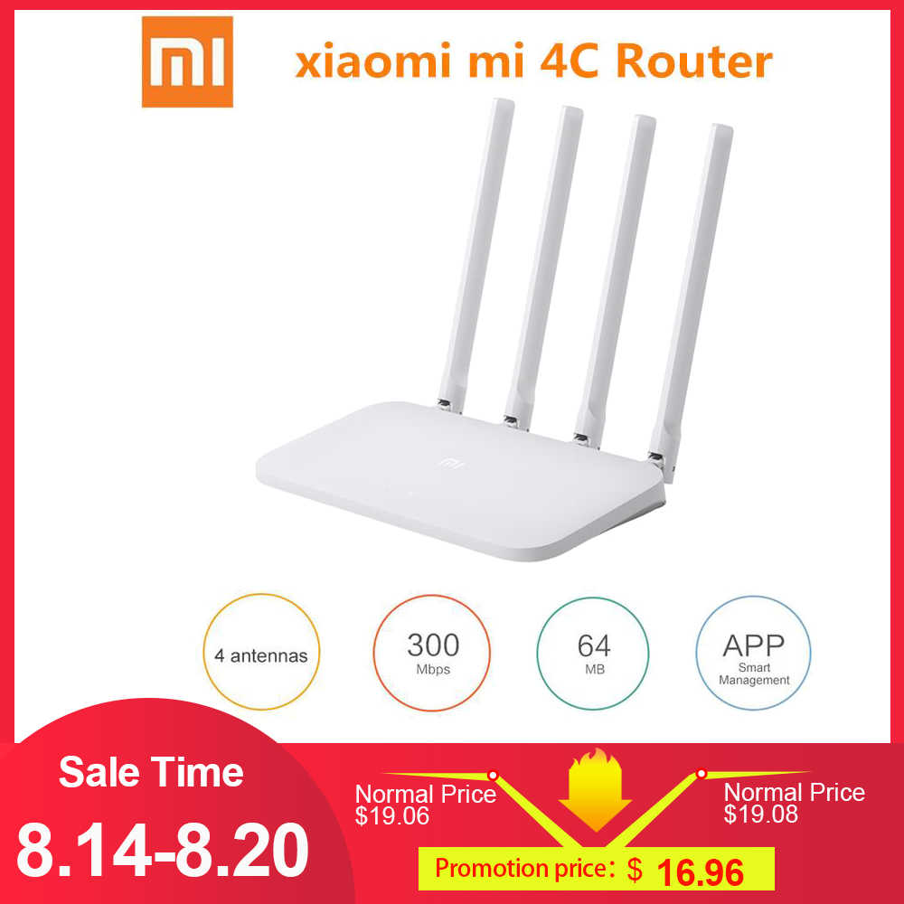 Xiaomi Mi WIFI Router 4C 64 RAM 802.11 b/g/n 2.4G 300Mbps 4 Antennas Smart APP Control Band Wireless Routers Repeater