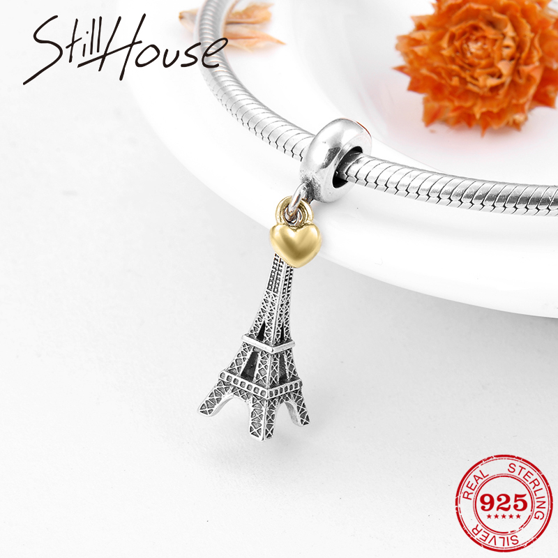 Fashion 925 Sterling Silver Eiffel Tower With Golden Heart Charms Pendant For Jewelry Making Fit Original Pandora Necklace