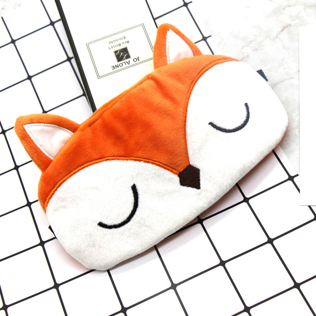 Fox Sleeping Mask Cute Cartoon Eye Cover Plush Sleep Eye Mask Travel Rest Eyeshade Kids Eye Band Blindfolds Sleep Aid Eyepatch