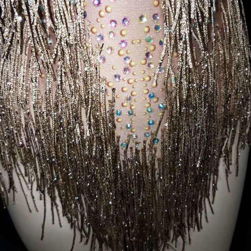 Złoty z kryształu górskiego z frędzlami Fringe elastan trykot body damskie urodziny wieczór kostium strój sceniczny klub nocny ubrania taneczne