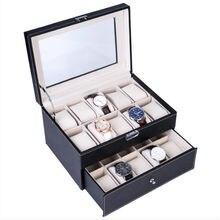 Caixa de relógio de couro do plutônio com 3/6/10/12 grade, caixa de armazenamento para relógio de quartzo, caixa de jóias, melhor organizador de jóias do presente