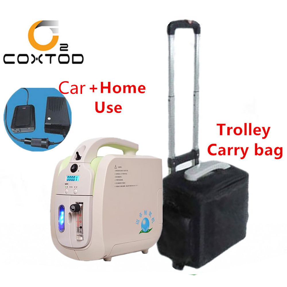 COXTOD Oxygen Concentrator with Battery Trolley Carry Bag Car Adaptor Oxygen Generator Concentrator Sleep Function Air Purifier image