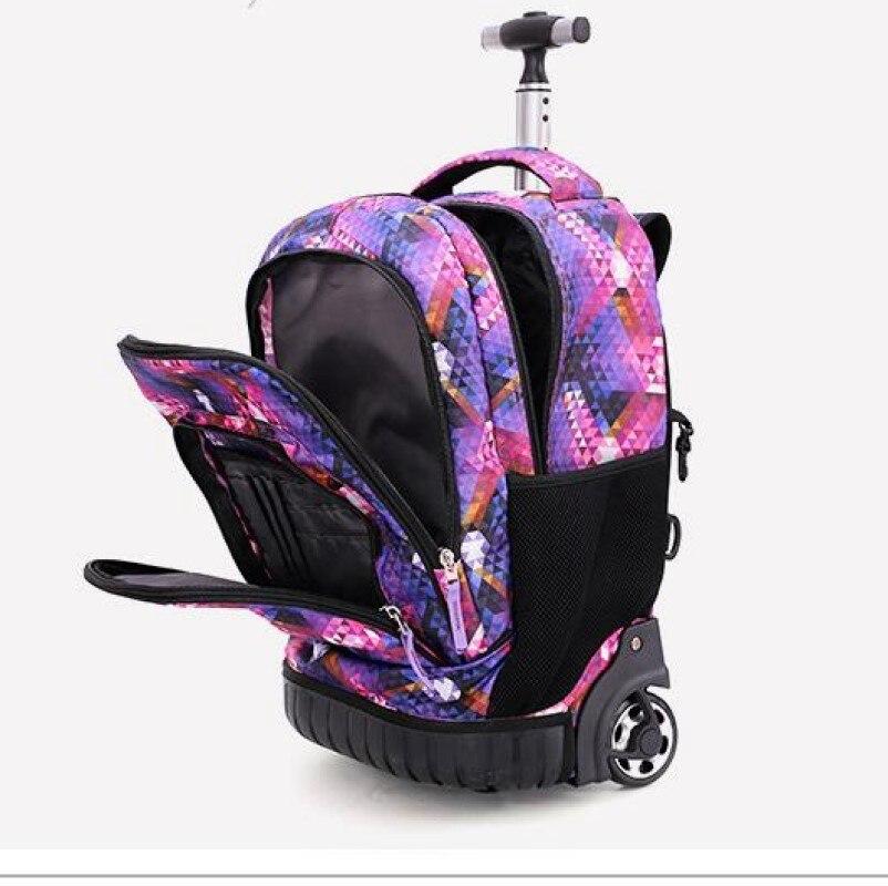 18 Inch Rolling Backpack Travel School Backpacks on Wheel Trolley SchoolBag for Teenagers Boys Children School Bag with Wheels - 6