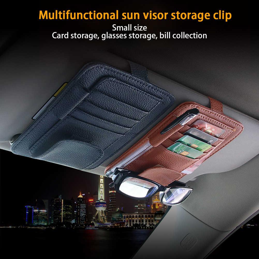 Авто аксессуары солнцезащитные очки клип автомобильный козырек от солнца, для карт для хранения из искусственной кожи авто-органайзер для автомобиля, держатель для карт ящик для хранения