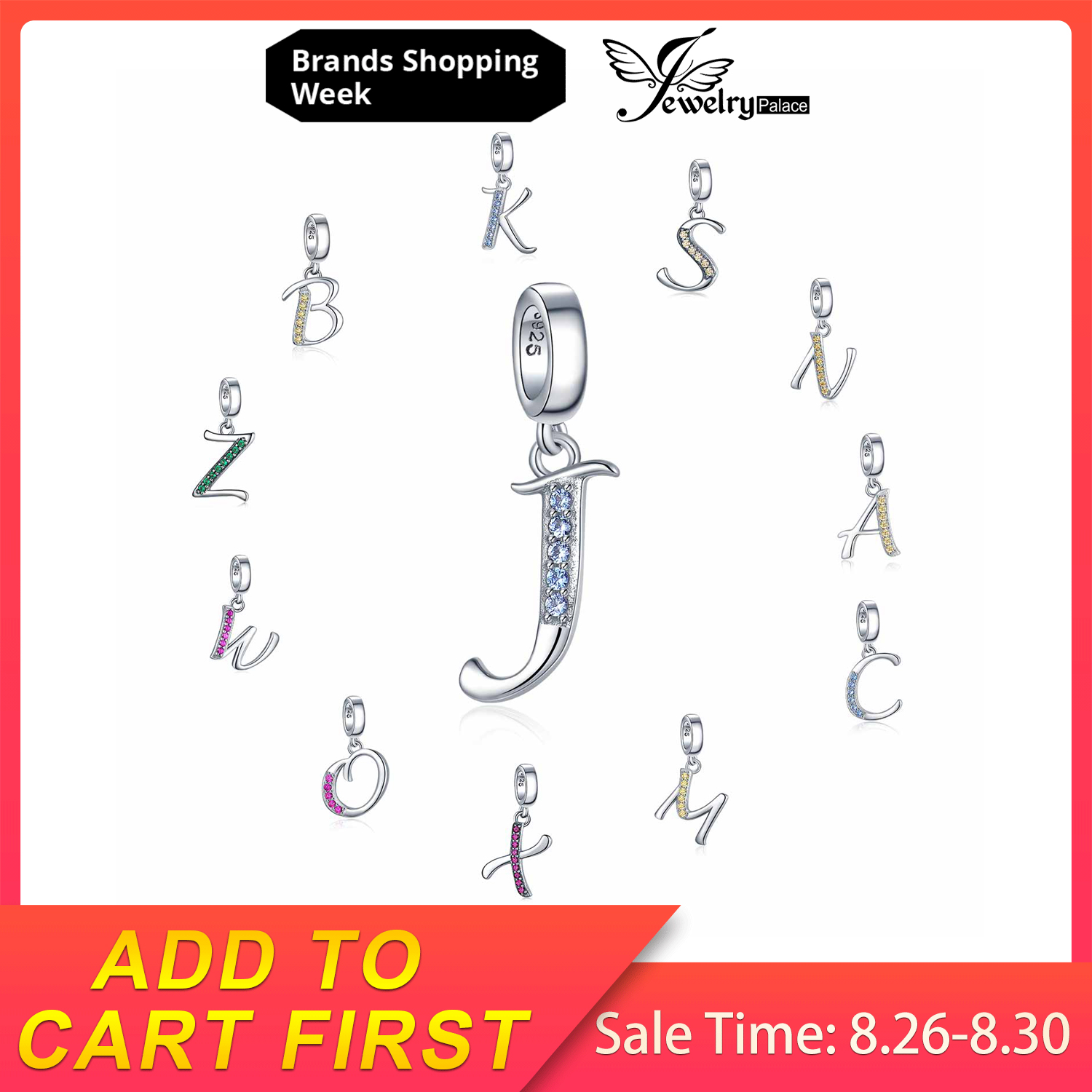 JewelryPalace Initial 925 Sterling Silver Beads Charms For Bracelet Silver 925 original Beads Jewelry Making Pendant Necklace necklace