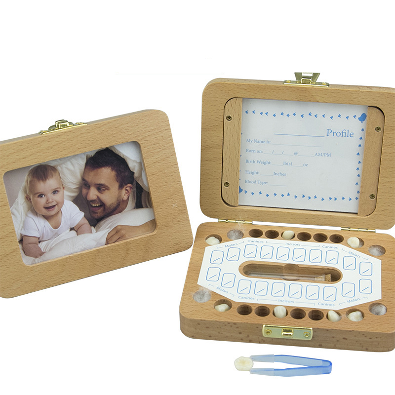 Baby Boys And Girls Deciduous Tooth Box Wooden Picture Frame Tooth Fetal Hair Storage Box Anniversary Keepsake Save Box