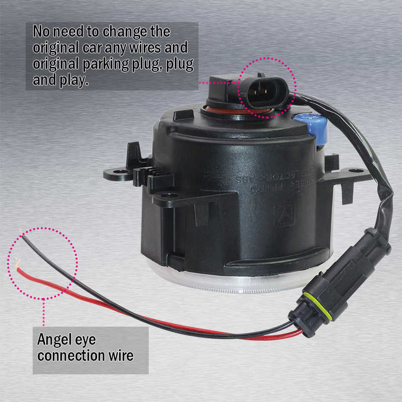 Cawanerl araba 4000LM H11 LED sis lambası + melek göz Daytime koşu işık DRL 12V Styling için Citroen Berlingo b9 2012-2015