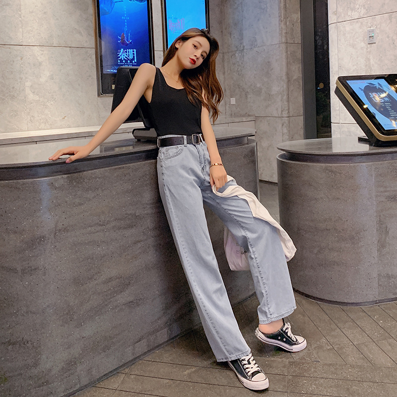2019 New Style Korean-style Summer-Style Two-Piece Set Crew Neck Camisole + High-waisted Wide-Leg Jeans F7307