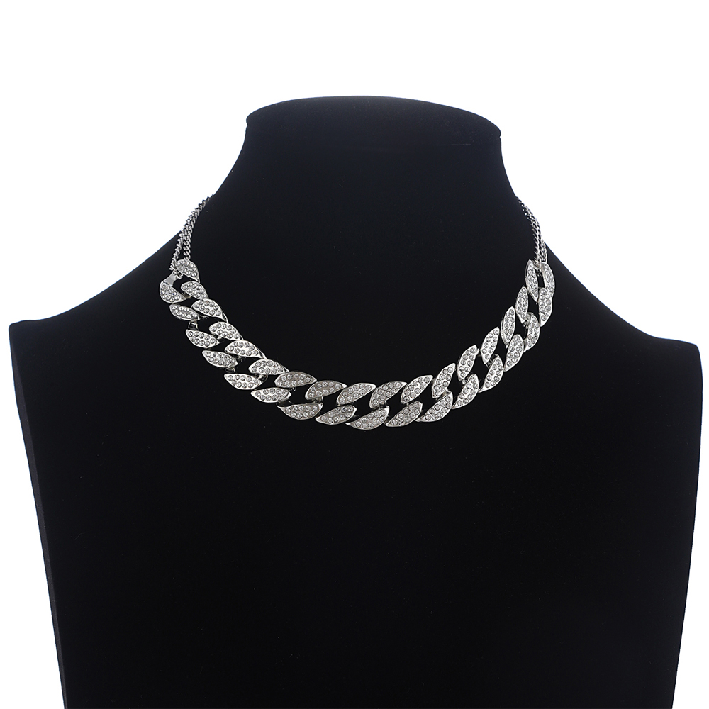 Iced Out Cuban Link Chain Necklace Women's Neck Choker Luxury Jewellery Girls Rhinestone Chocker Fashion Hip Hop Jewelry 2020