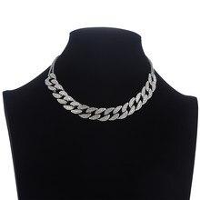 Iced Out-collar de cadena de eslabones cubanos para mujer, gargantilla de cuello para mujer, joyería de lujo para niña, gargantilla de diamantes de imitación, joyería de Hip Hop 2020