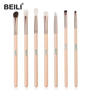 BEILI Matte Pink Makeup Brushes Set goat hair Powder Foundation Concealer Blush Eyeshadow rose gold natural hair Make up brushes 15
