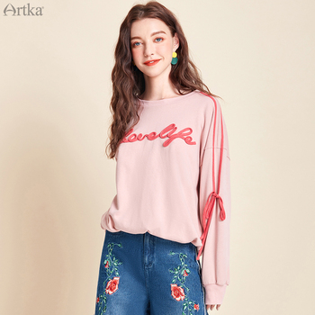 ARTKA 2020 Spring New 100% Cotton Letter Ribbon Sweatshirts O-Neck Casual Loose Pullover Long Sleeve Women Sweatshirt VA25004C artka 2019 autumn new women sweatshirt 100% cotton fashion print hoodie sweatshirt o neck pullover casual hoodies women va10399q