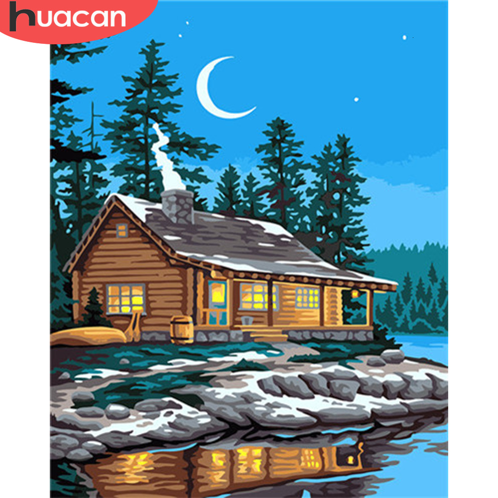 HUACAN Coloring By Number House Landscape HandPainted Kits Drawing Canvas Oil Painting Night Pictures Home Decoration