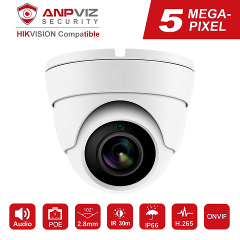 hikvision compativel 5mp poe camera ip ao ar livre indoor 2592x1944 dome camera de vigilancia