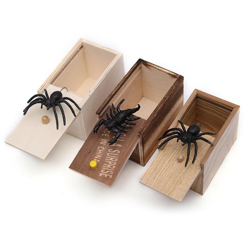 Nouvelle drôle boîte de peur en bois blague araignée cachée au cas grande qualité blague-en bois Scarebox intéressant jouer astuce blague jouets cadeau
