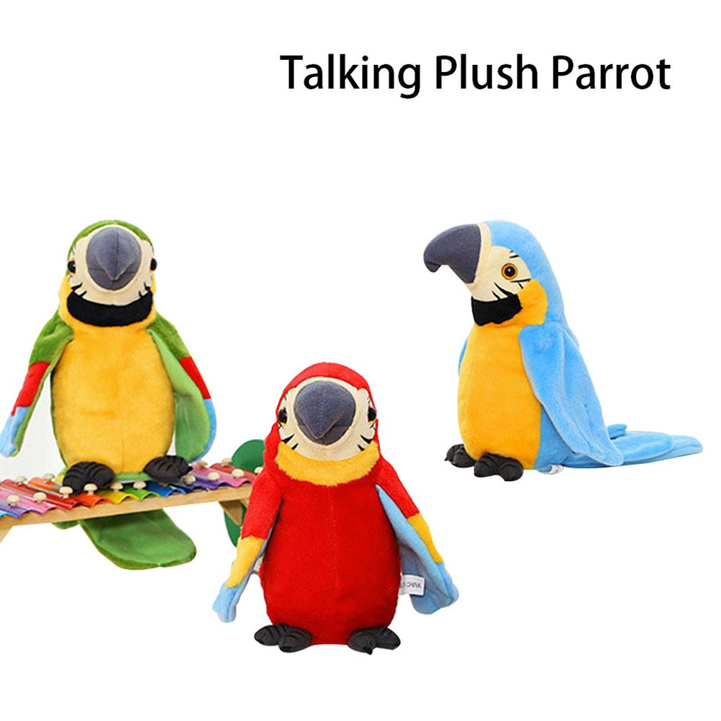 Hot Sale 21cm Speak Talking Record Cute Parrot Repeats Waving Wings Electric Plush Simulation Parrot Toy Macaw Toy Cute Kid Gift