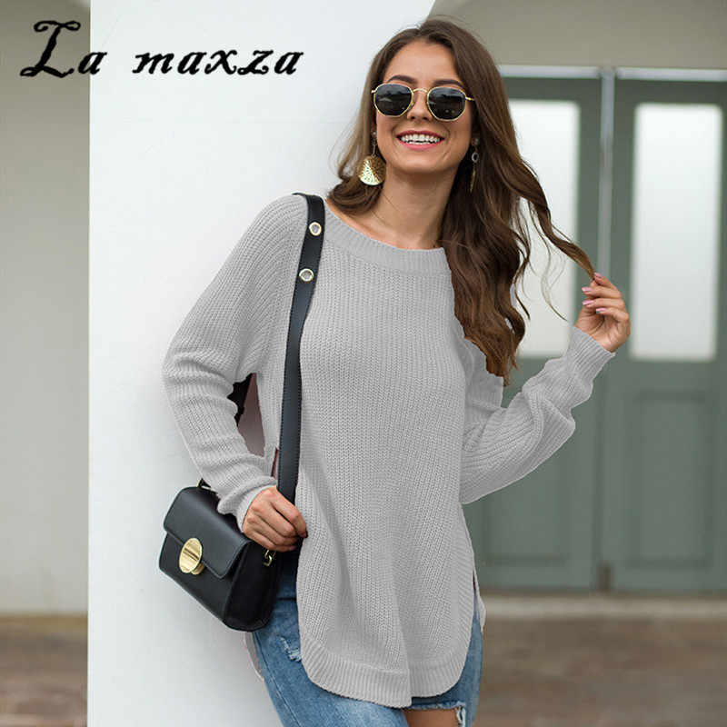 2019 New Arrival Fashion Knitted Women Sweaters Plus Size Winter Casual Solid Pullover Sweater