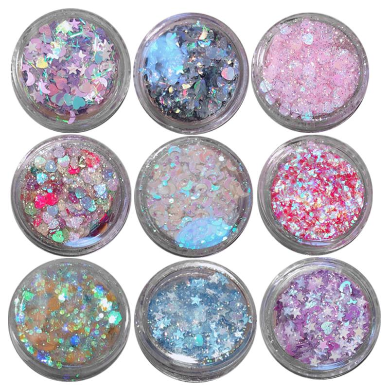 Sequin Glitter Gel Flash Nail Stickers Children Show Eye Makeup Stickers Tear Stickers Love Stars Stickers 2019