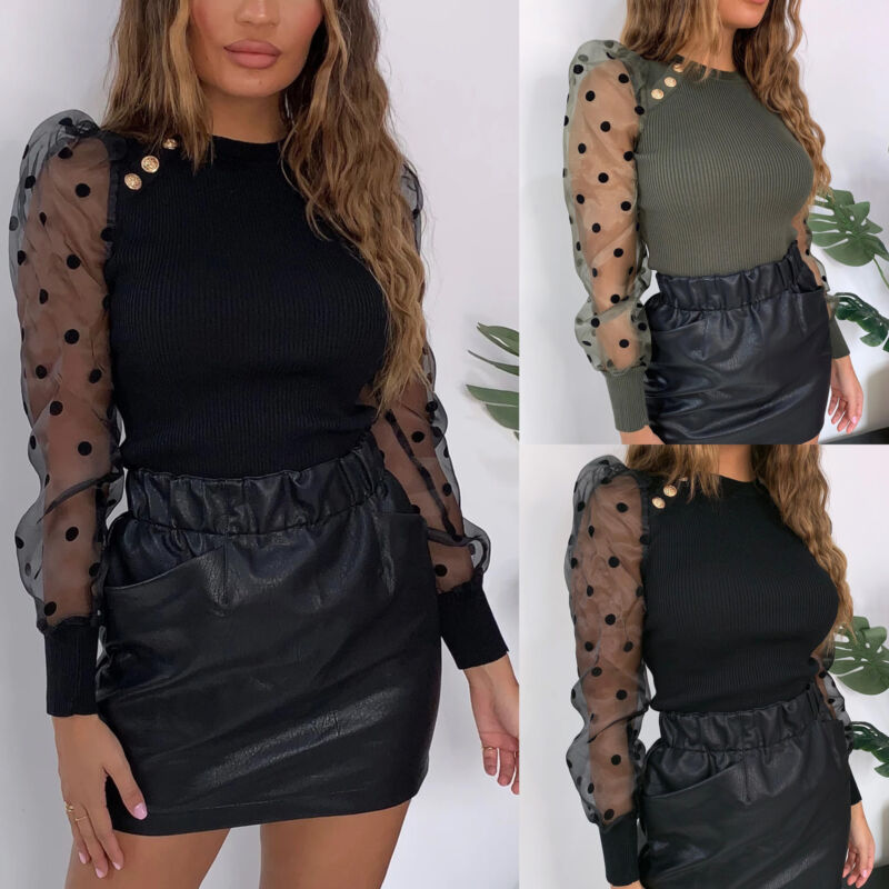 Womens Mesh Sheer Puff Sleeve Shirt Long Sleeve Sexy Blouse Slim Club Tops 2019 New Autumn Blouse See Through Sleeve Tops