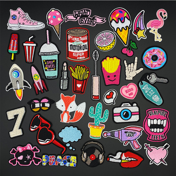 Bird shoes ice cream rocket PINK GIRL Iron on Patch for Clothing Embroidered Sewing Applique Woven Badge Sew On Patches girl 6x4cm small embroidered patches for clothing iron on clothes patch children diy sew on applications applique sewing cartoon