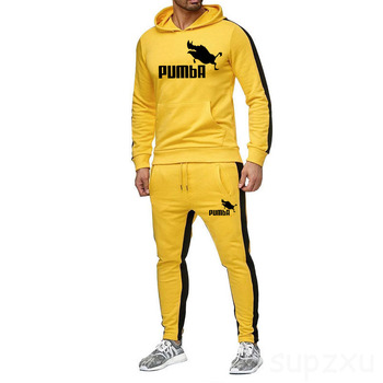 New 2020 men's Brand Tracksuit men thermal Sweatshirts Men Sportswear Sets Pumba hoodie+Pants Sporting Suit Male chandal hombre men s sets hoodie and pants sweatsuit male sportswear tracksuit men set 2019 brand sporting suit track sweat print alpha jackets