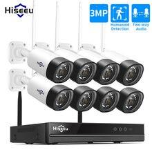 Hiseeu 3MP CCTV inalámbrico sistema de cámara 2-Audio para 1536P 1080P 2MP cámara IP al aire libre sistema de seguridad Video vigilancia Kits