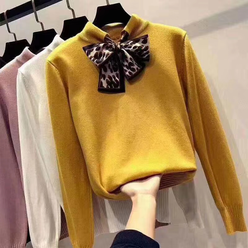 6 Colors 2019 Spring And Autumn Bowtie Sweater Women's Pullover Slim Sweaters Female Elastic Long Sleeve Tops Femme (N0035)