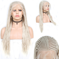 Charisma Platinum Blonde Wig 13X6 Long Box Braided Wig with Baby Hair Synthetic Lace Front Wig for Women Synthetic Wigs Cosplay