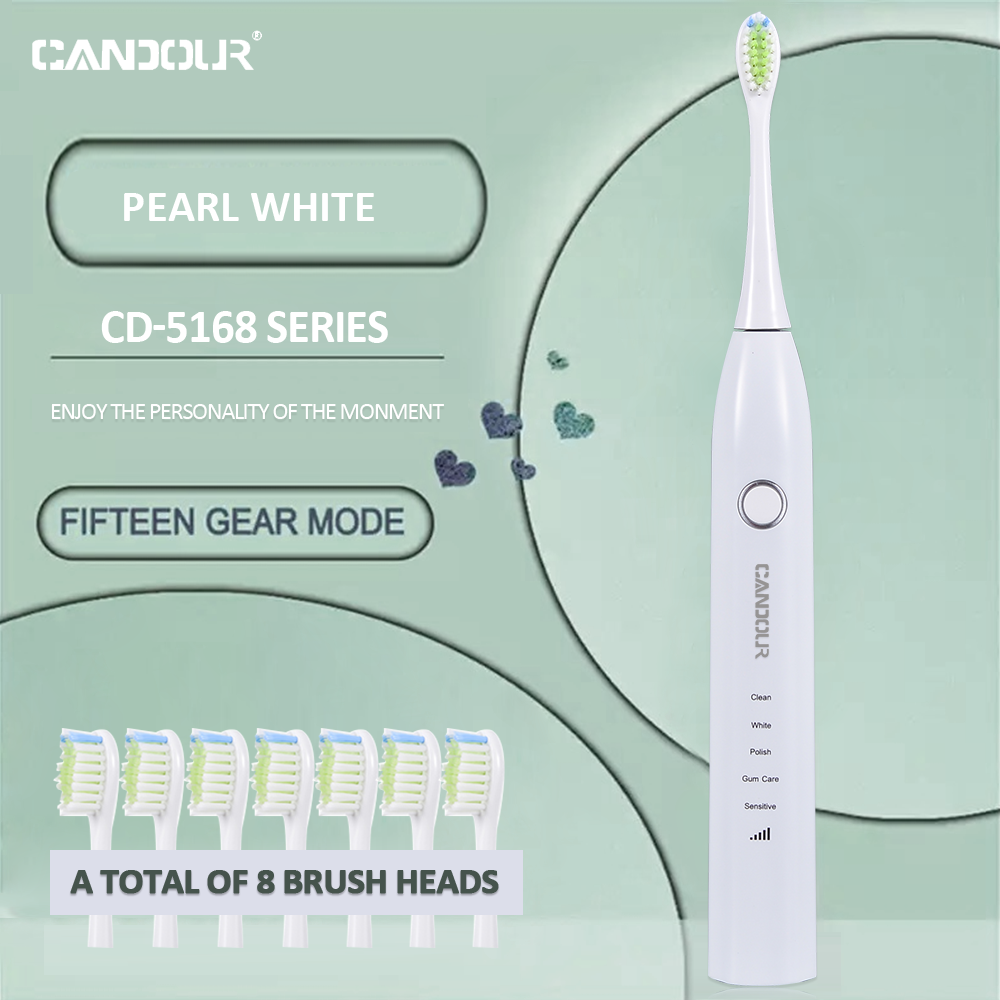 CANDOUR Sonic Electric Toothbrush Tooth brush USB Rechargeable adult Waterproof Ultrasonic automatic 5 Mode with Travel case