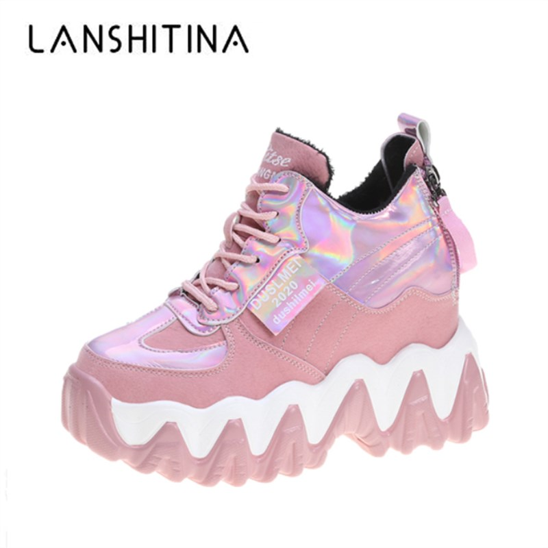 Fashion Winter Women Leather Casual Shoes Comfortable High Platform Shoes 10CM Wedge Heels Warm Boots Thick Sole Sneakers Woman