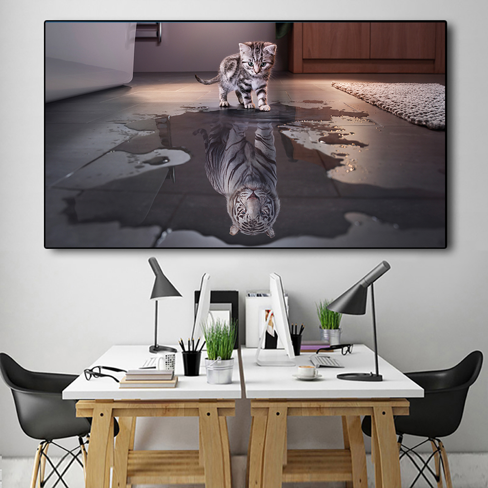 White Tiger Posters Liitle Cat Picture Wall Canvas Decor Motivational Posters Tiger In Heart for Teen Boy Room Wall Decorations