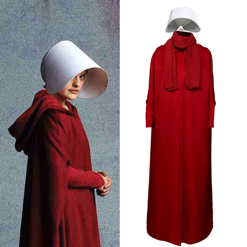 The Handmaid's Tale Cosplay Costume Halloween Party Handmaid Offred Women Wine Red Cape Dress Scarf Hat Set