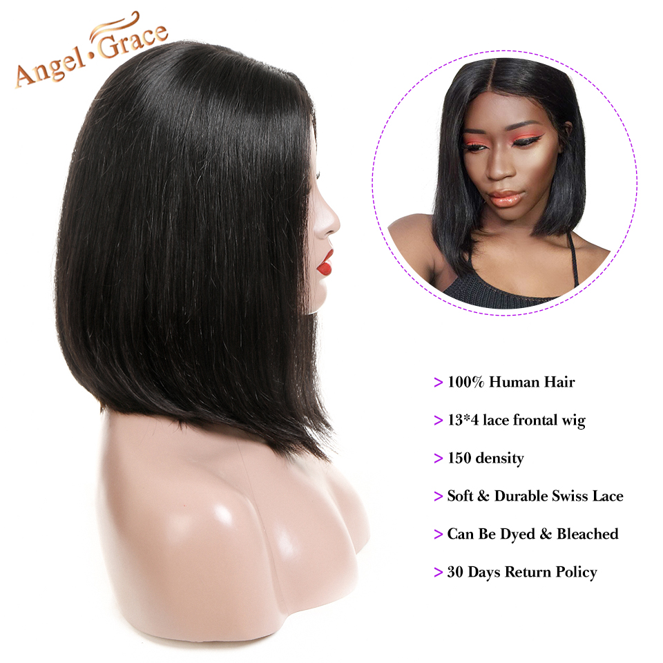 Angel Grace Hair Short Bob Blonde Lace Front Human Hair Wigs 13X4 Brazilian Straight Bob Wigs Pre Plucked With Baby Hair Remy