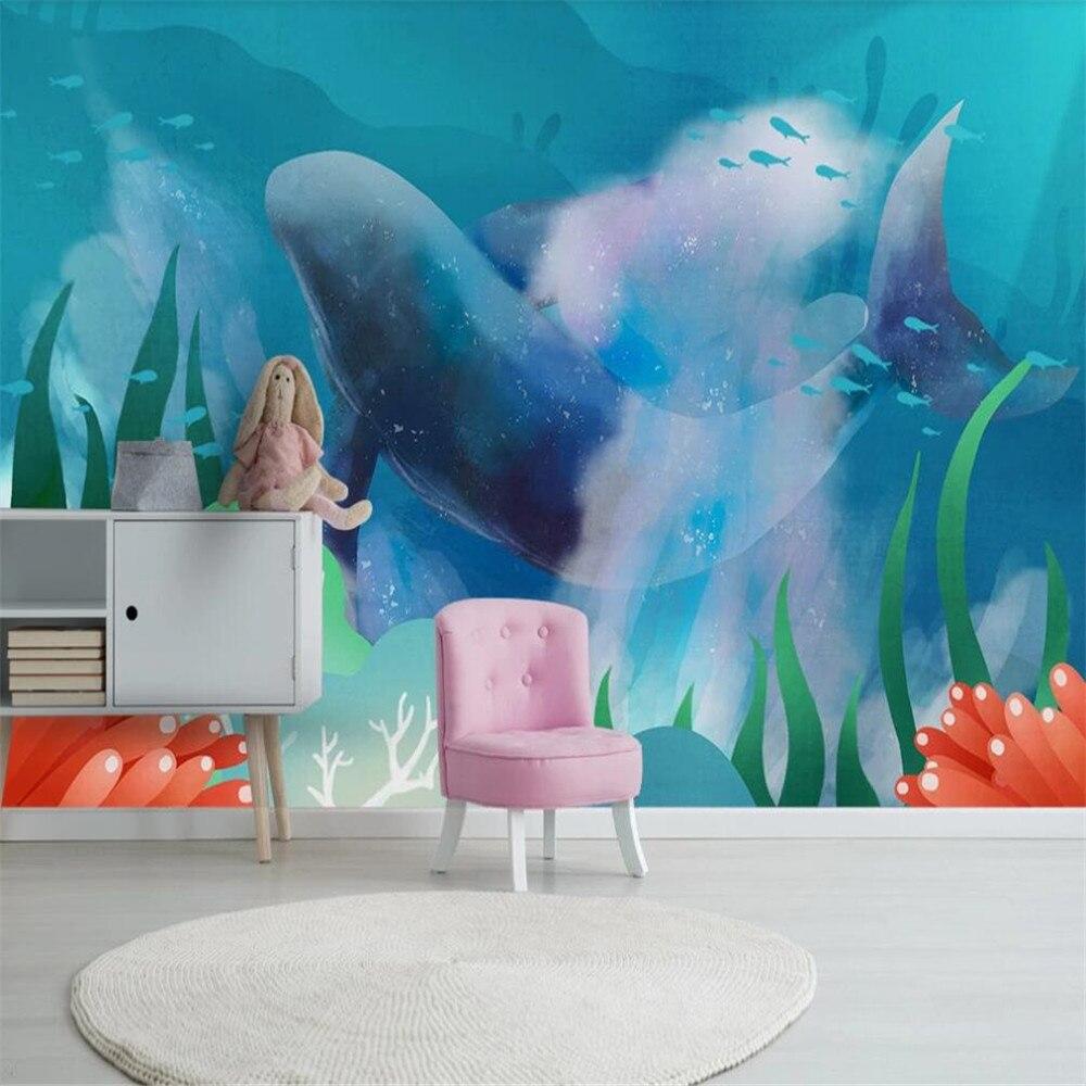 Milofi Custom 3D Wallpaper Mural Watercolor Mediterranean Sea Ocean Whale Children's Room Background Wall Decoration Painting Wa