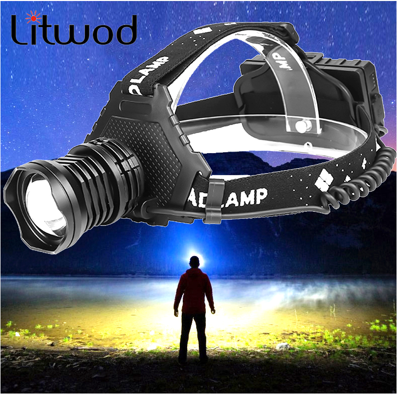 Litwod 2064z15 The Most Powerful XHP90 Led Headlamp Headlight 32W Zoom 18650 Power Bank Flashlight Head Lamp