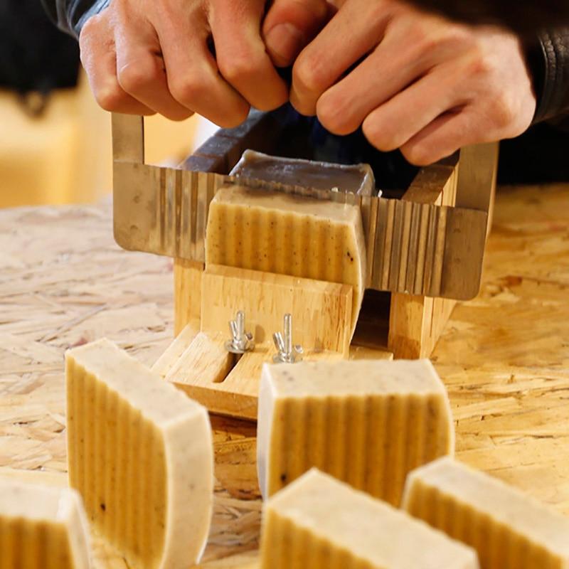 Hardwood Handle Soap Cutter Steel Straight Wavy Slicer Cutter DIY Soap Making Tools