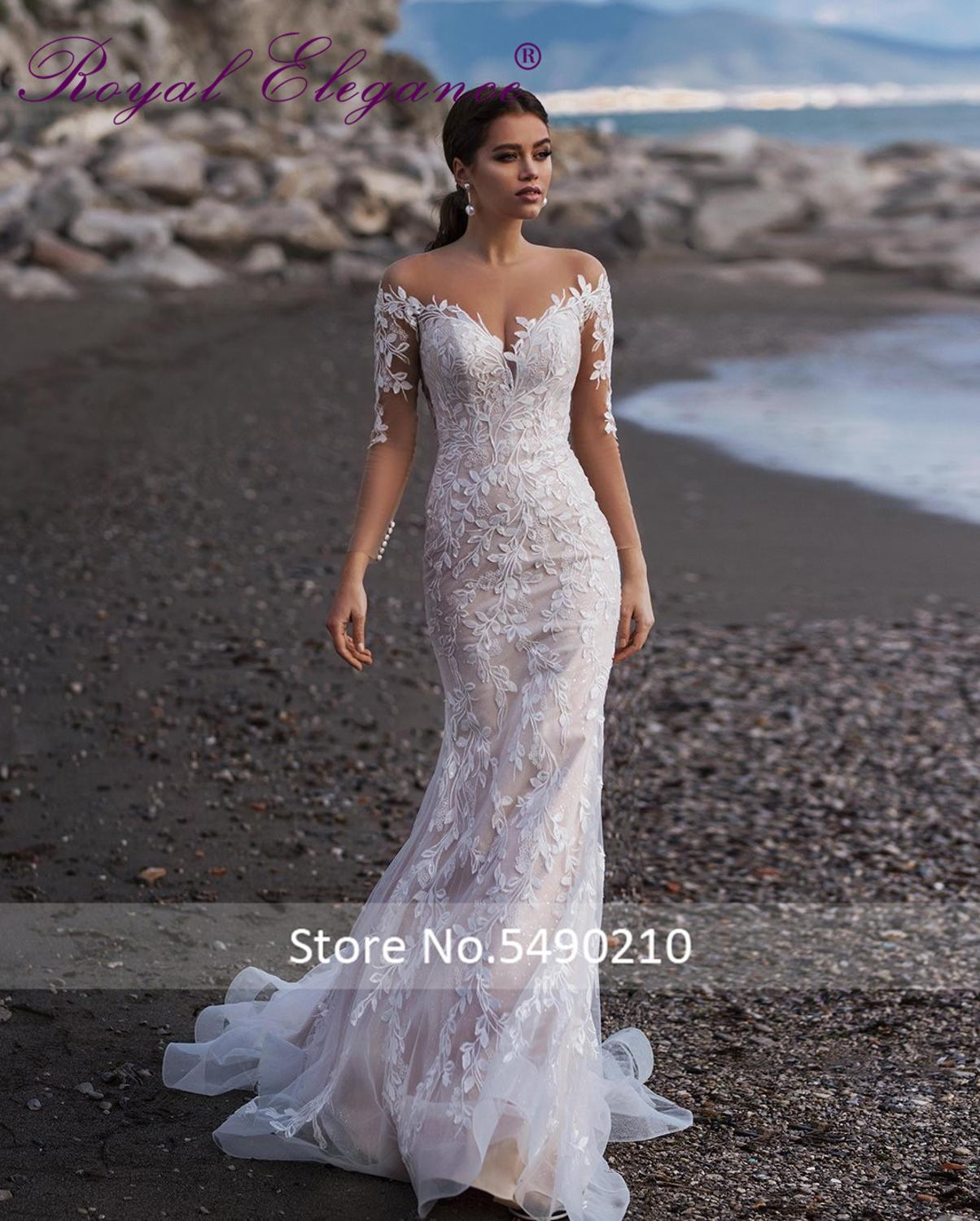 Royal Elegance  Vestido De Noiva Long Sleeve Illusion Neckline Luxury Lace Applique Wedding Dress Abiti Da Sposa