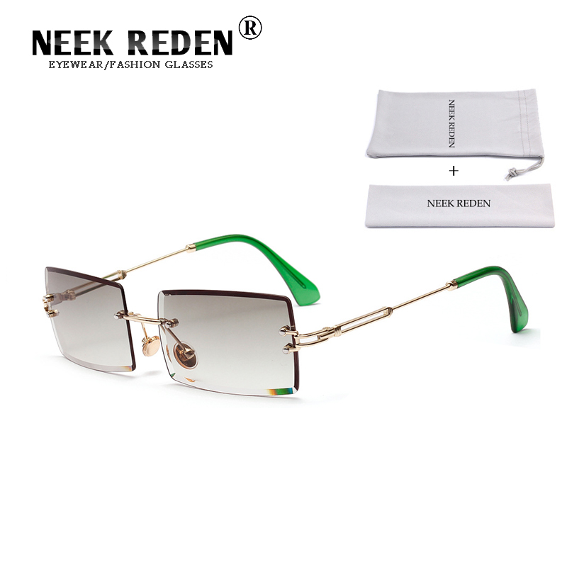 Neek Reden 2019 New Arrival Rectangle Women Sunglasses Rimless Square Female Sun Glasses Diamond Cutting Retro Eyewear NK570