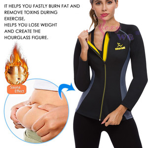 Image 2 - SEXYWG Slimming Body Shaper Fitness Tight Women Neoprene Sauna Suit Waist Trainer Shapewear Zipper Yoga Shirt Long Sleeve Blouse