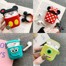 For AirPods Case 3D Cute Cartoon Earphone Cases Apple Airpods 2  Funny Accessories Protect Cover with Finger Ring Strap