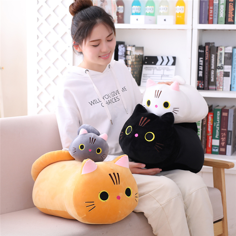Millffy Dropshipping Cute CAT Pillow Plush Toy Kitty Soft Plush Cat Stuffed Doll Kitten Plushy Toy For Kids Children