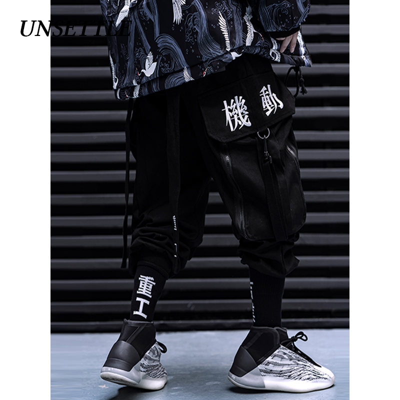 UNSETTLE 2019 AW Chinese Embroidery Pockets Cargo Pants Men/Women Hip Hop Male Trousers Mens Joggers Casual Streetwear Pants