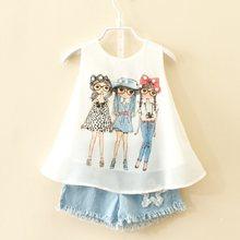 Costume de marque en mousseline de soie pour enfants, vêtements d'été pour bébés filles de 3 8 10 ans, à la mode, 2020