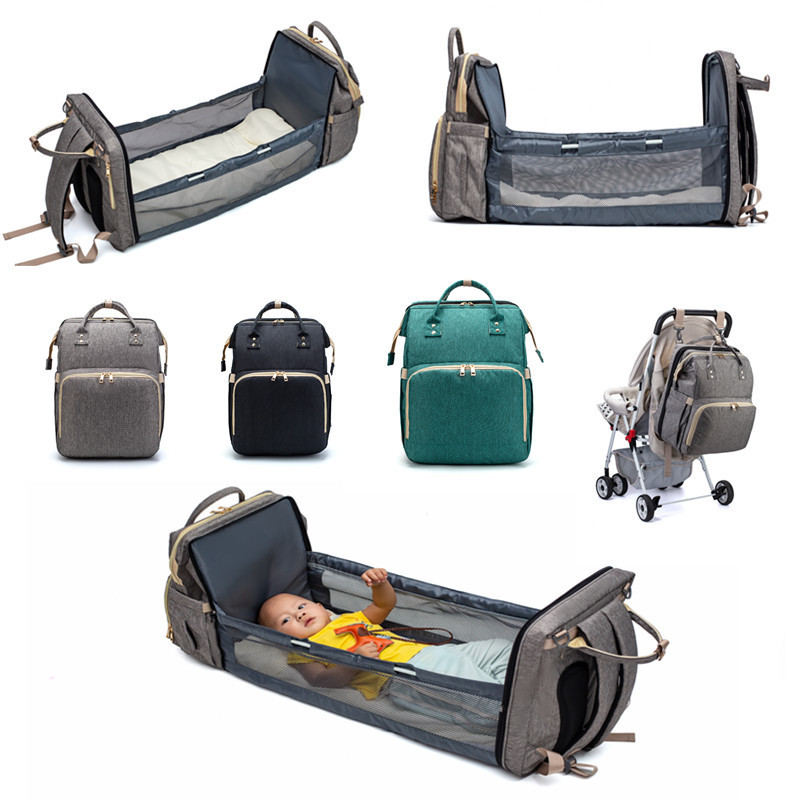 Multifunctional 2 in 1 Baby Diaper Bag Backpack Portable Fold Outdoor Travel Backpack Baby Bed Bag