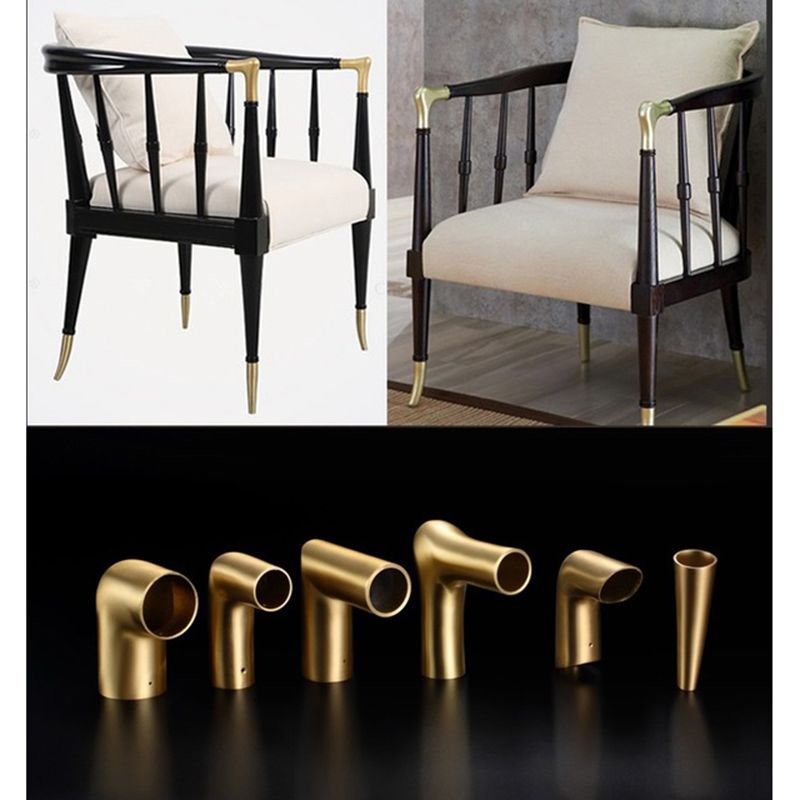 2Pcs Solid Brass Tip Cap for Mid-Century Modern Chair Table Leg Feet Tapered Chair Arm Elbow Connector