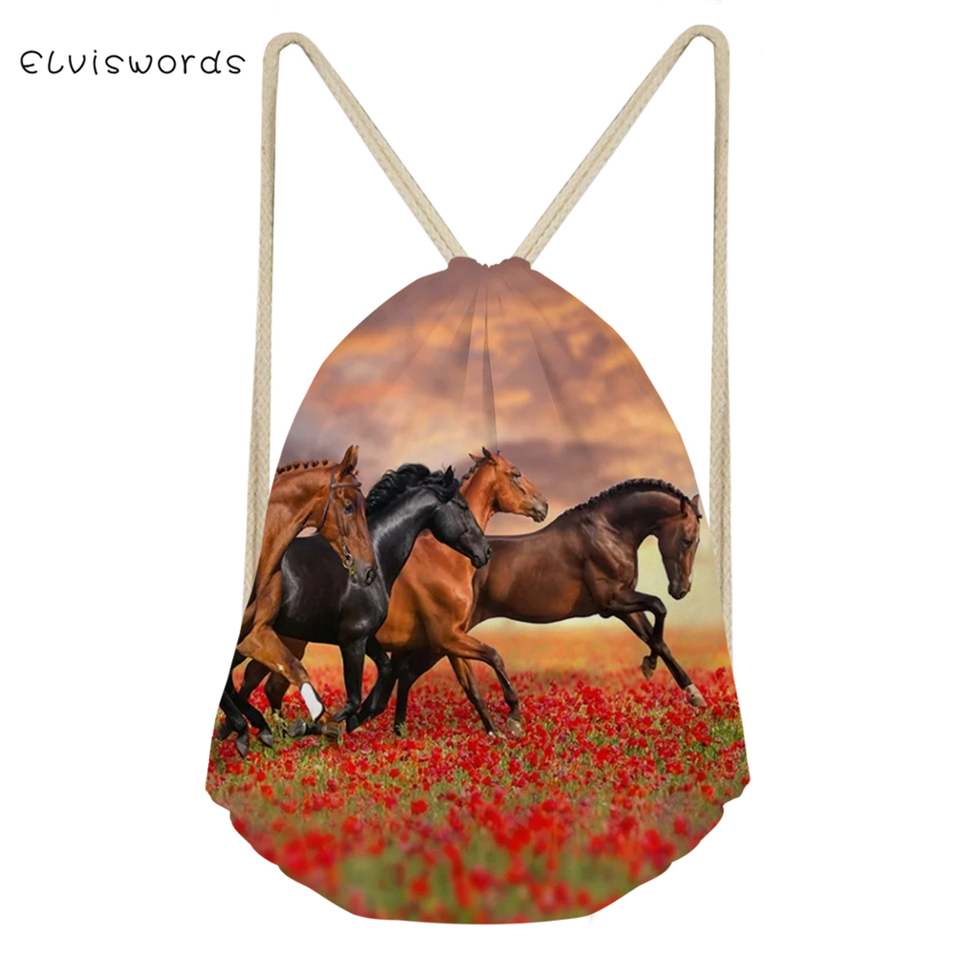 ELVISWORDS Fashion Women's Travel Drawstring Backpack Flower Horses Printing Pattern Beach Shoes Pockets Cute Animal Mini Pocket