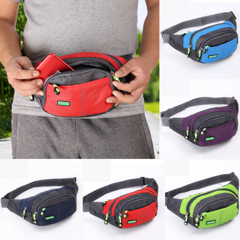 Women Men Outdoor Sport Bum Bag Fanny Pack Travel Hiking Waist Money Belt Zip Pouch Wallet Casual Canvas Unisex Purses Crossbody