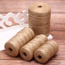 50m/80m/100m cabo de linho feito à mão cordões de serapilheira corda corda diy artesanato arte decoração presente corda casamento tags decoração