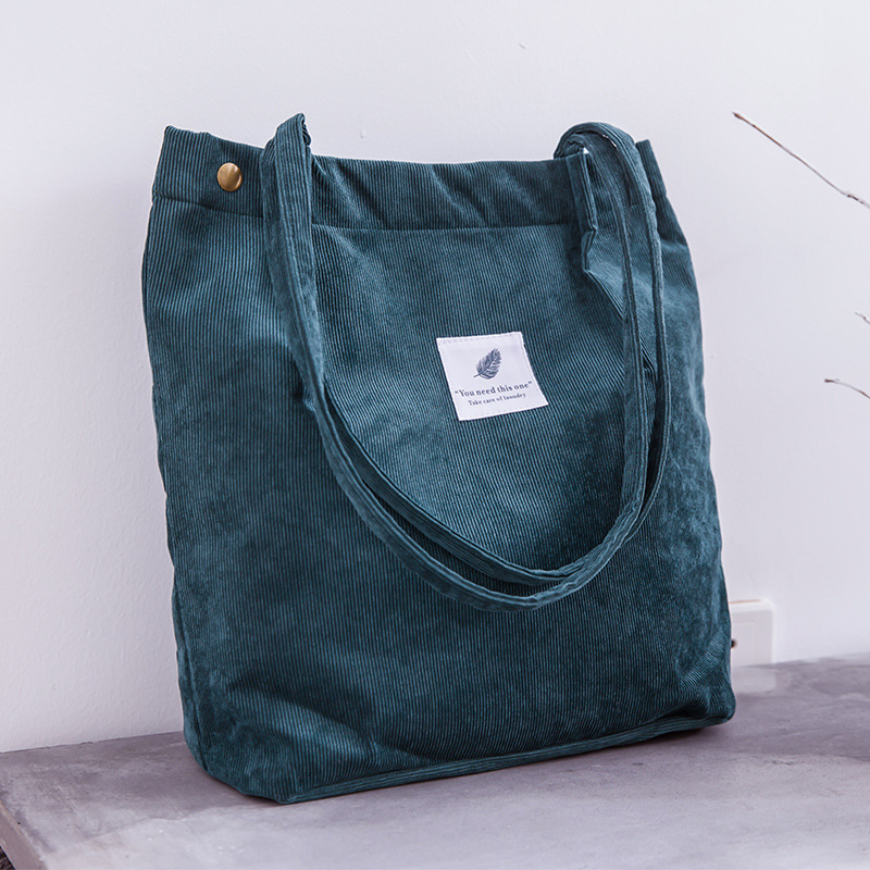 Women Corduroy Shopping Bag Female Canvas Cloth Shoulder Bag Environmental Storage Handbag Reusable Foldable Eco Grocery Totes 3